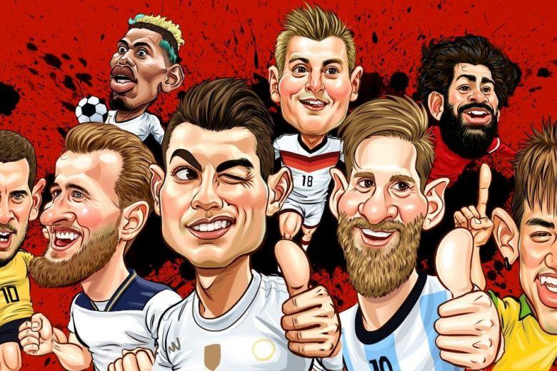 Paul Pogba, Toni Kroos, Mohamed Salah, Eden Hazard, Harry Kane, Cristiano Ronaldo, Lionel Messi, Neymar (Fotó: Suchat Manthong / Shutterstock.com)