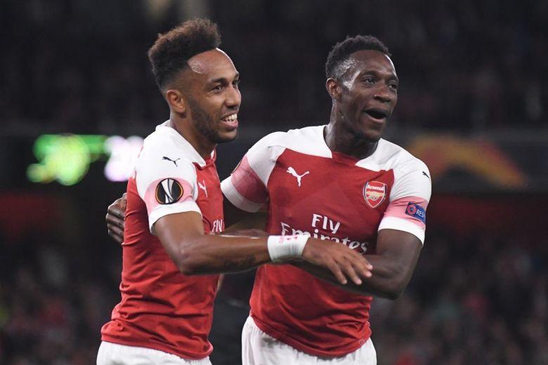 Pierre-Emerick Aubameyang és Danny Welbeck, az Arsenal játékosainak öröme (Fotó: CosminIftode / Shutterstock.com)