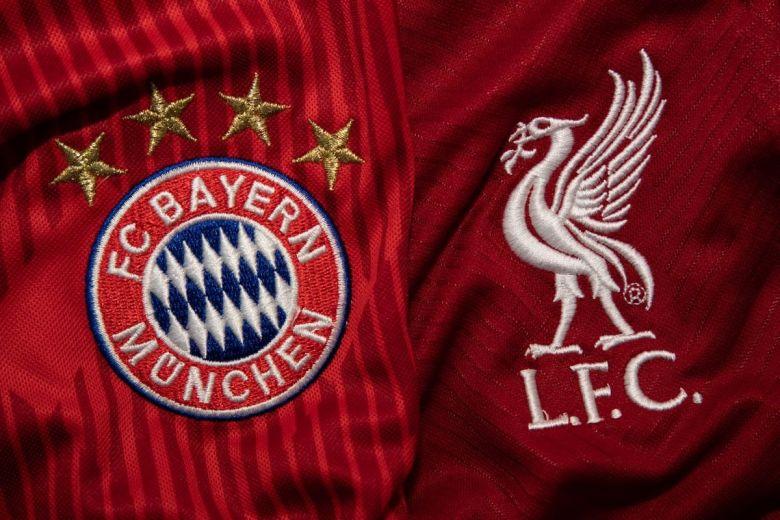 Bayern Munchen és Liverpool címerei (Fotó: charnsitr / Shutterstock.com)