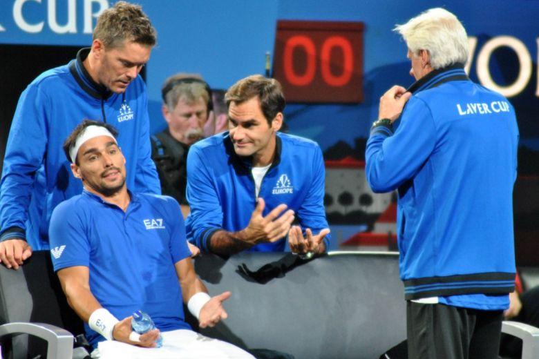 Fabio Fognini és Roger Federer a Laver Kupán (Fotó: Sonia Alves-Polidori / Shutterstock.com)