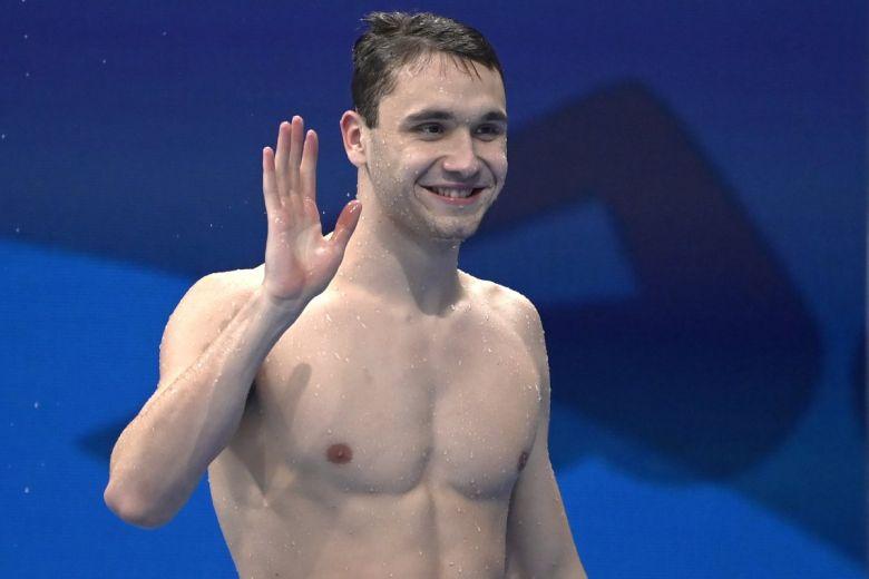 Tokió, 2021. július 26. Milák Kristóf a férfi 200 méteres pillangóúszás előfutama után a világméretű koronavírus-járvány miatt 2021-re halasztott 2020-as tokiói nyári olimpián a Tokiói Vizes Központban 2021. július 26-án. Az úszó a legjobb idővel jutott